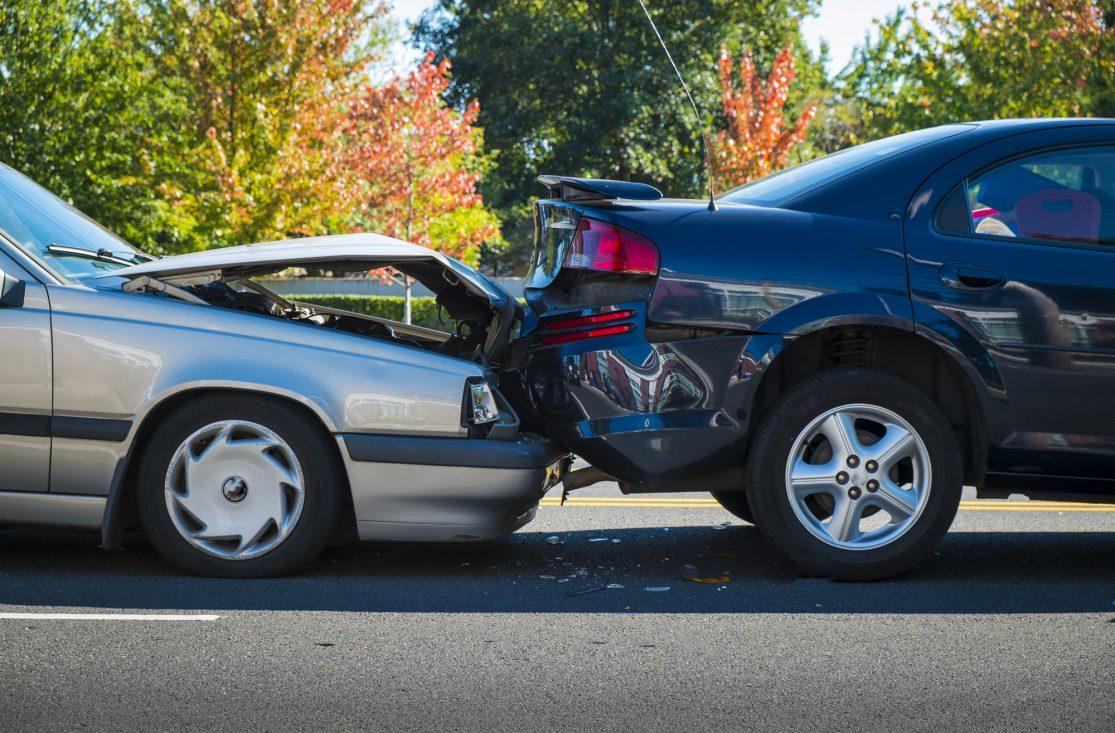 Stor skade på bil